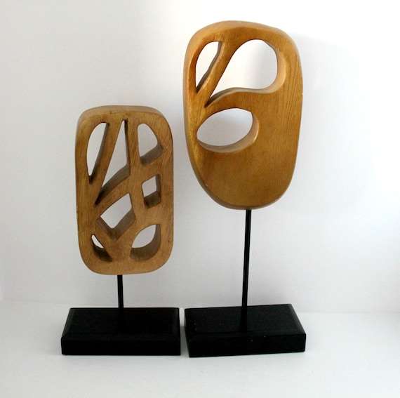 Pair Vintage Palecek Abstract Wood Sculptures Cut Outs, Mid Century Wooden Table Decor on Base