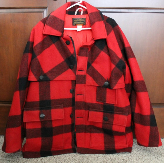 Vintage Eddie Bauer Mens Plaid Blanket Jacket, Field Coat, Goose Down Filled
