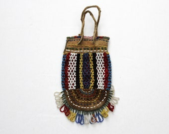 Native American Beaded Leather Medicine Bag Small Tobacco Pouch Vintage Antique 1930s