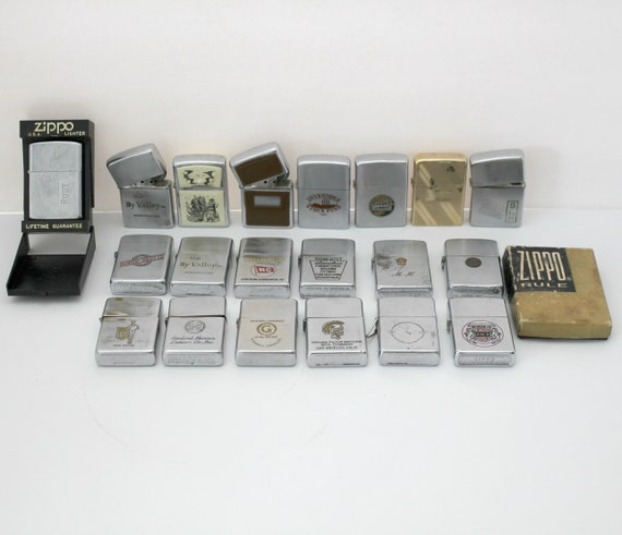 Vintage Zippo Lighter Lot 20 Advertising for Parts or Repair Zippo Rule Box Only