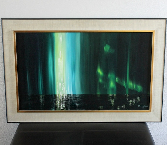 Vintage Northern Lights Oil Painting Original by Rudy Neubert 1967, Canadian Art
