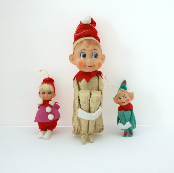 Lot 3 Elf On A Shelf, One Large, One Girl with Snowball, Vintage 1960s Christmas Elves