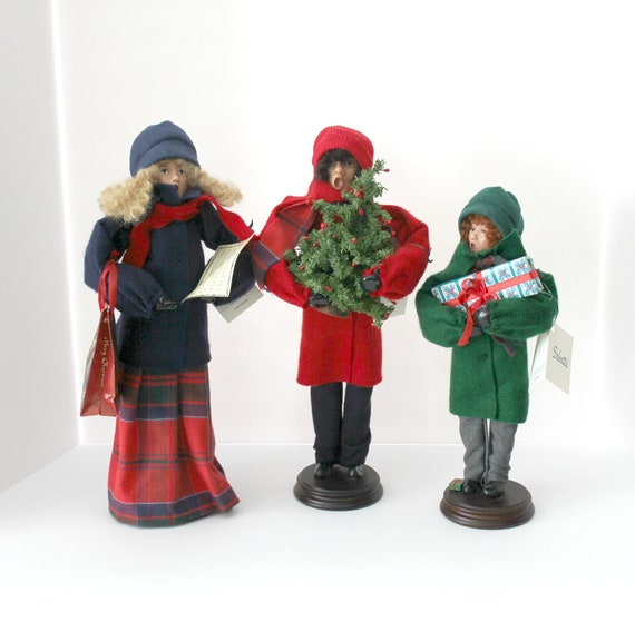 3 Sabatte Carolers Figures from 1994 Signed and Numbered, Helen Sabatte Christmas Caroling