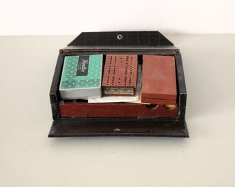 Travel Game Kit in Original Case, Vintage Cards, Checkers, Cribbage, Yahtzee, Poker Chips