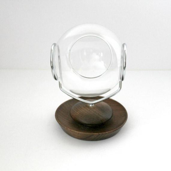 Vintage Terrarium Planter, Mid Century Wood and Moveable Turning Glass Globe Design