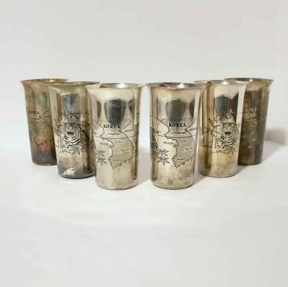 Set of 6 Vintage Korean War 38th Parallel North South Silverplate Tiger Tumblers Metal Glasses | Silver Plate