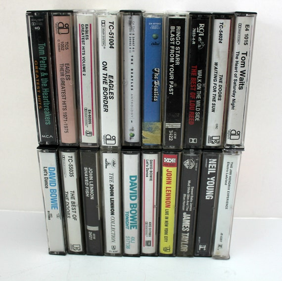 Lot of 20 Vintage Classic Rock Cassette Tapes, Doors, Eagles, Bowie, Lennon, Hendrix, Beatles, Neil Young, Lou Reed, James Taylor
