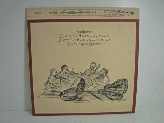 The Budapest Quartet Record LP, Beethoven No. 5 6, Columbia MS 6067 6 Eye Vintage Vinyl Classical Music