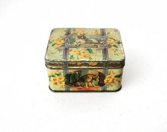 1920s Dog Tin Humane Society Distinguished Member, Animal, Small Tin Storage Box