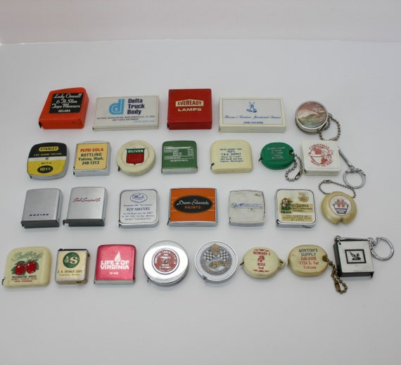 Vintage Advertising Tape Measure Lot of 27, 1950s - 1970s, Boeing Zippo, Barlow,