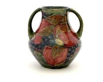 1916 William Moorcroft Vase, Pomegranate Style 5 Pottery Twin Handle Urn