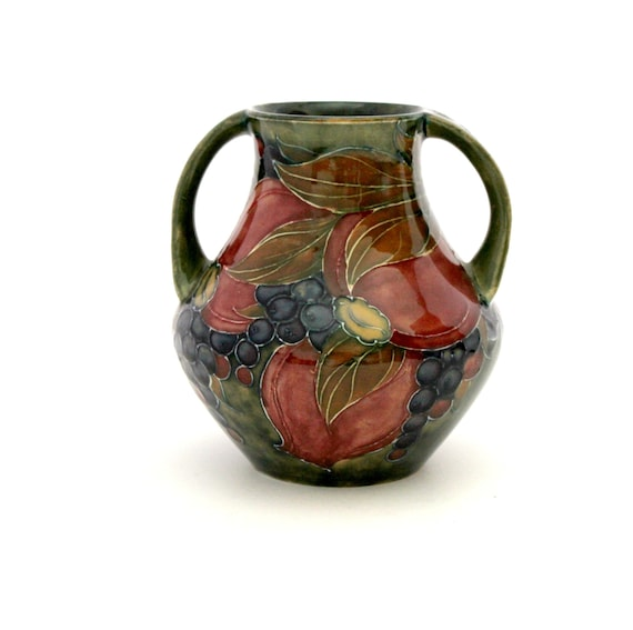 1916 William Moorcroft Vase, Antique Pomegranate Style 5 Pottery Twin Handle Urn