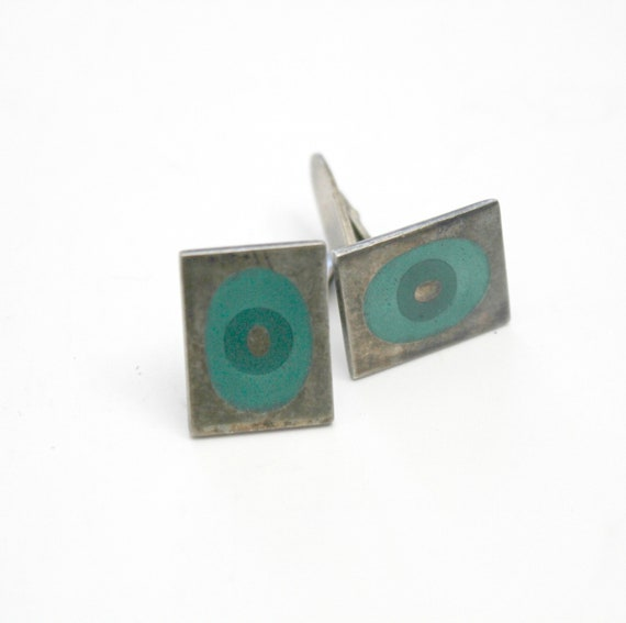Vintage Danish Assentorp Sterling Silver Cufflinks Mod 60s Abstract Green Oval