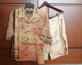 Rolling Stones Shirt Shorts Set, Beggars Banquet, No Expectations, Dragonfly, Button Down, Size M Medium