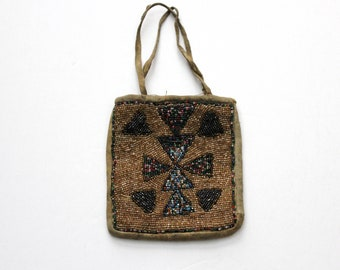 Native American Beaded Leather Bag Small Pouch Vintage Antique Early 1900s