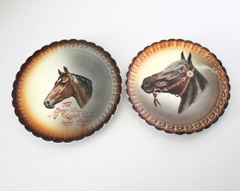 1920s Pair Horse Race Advertising Promo Plates, Porcelain Sterling China