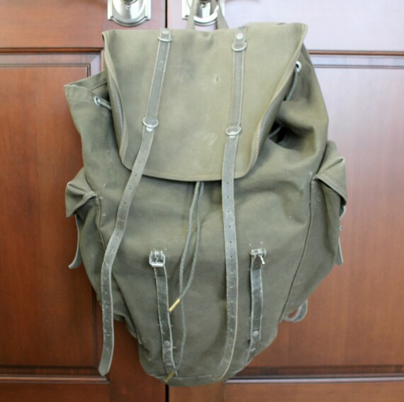 Vintage Green Canvas Backpack Sack Bag, Drawstring Buckle Leather Vinyl 1960s