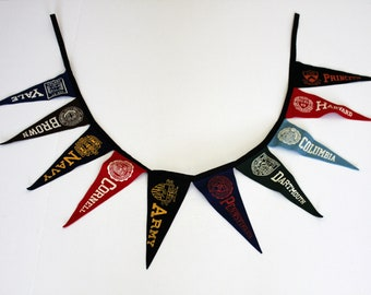 1950s Collegiate Collete Pennant Banner String of 10 Vintage, Army, Navy, Yale, Cornell and more