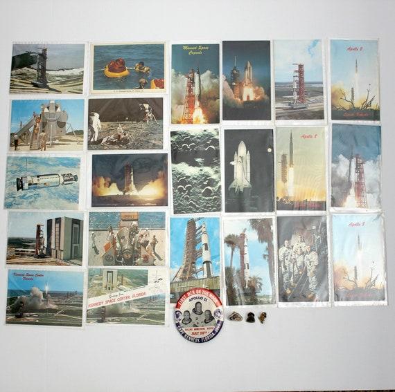 Lot Vintage Apollo Space NASA Astronaut Missile Rocket Postcards Buttons Pins 1970s