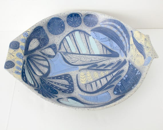 Mid Century Cleminsons Europa California Pottery Fish Bowl, Blue Gray Footed Dish