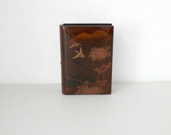 Japanese Lacquer Box Book, Vintage Lacquerware Silver Clasp, Trinket Jewelry Storage