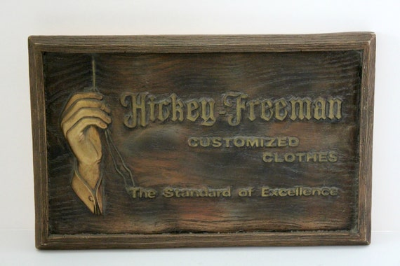 Vintage Hickey Freeman Clothing Sign | Embossed Wood Advertising Mens Clothes Plaque