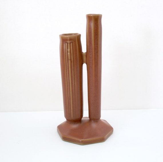 Vintage Roseville Double Bud Vase, Russco Salmon Vintage Deco Pottery Vase