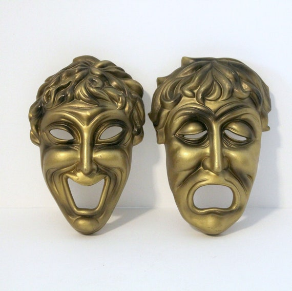 Vintage Comedy Tragedy Mask Faces Wall Decor | 1960s Theater Mid Century Art