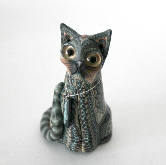 Jon Anderson Fimo Cat Sitting, Polymer Clay Art Figurine