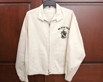1950s Phi Delta Theta Fraternity Jacket by Dan River Size L Large, Cream Color, Zip Front