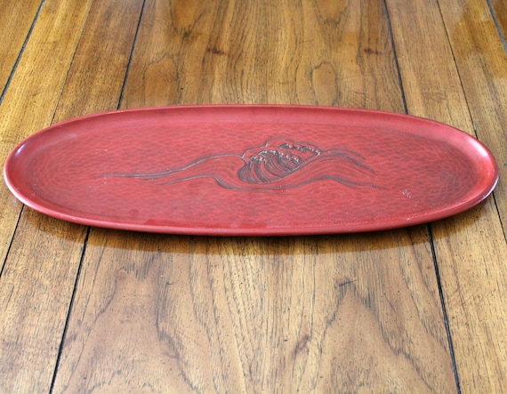 Vintage 1960s Lacquerware Red Oval Tray Centerpiece   Ocean Waves   Gift From Yokosuka Mayor 1963