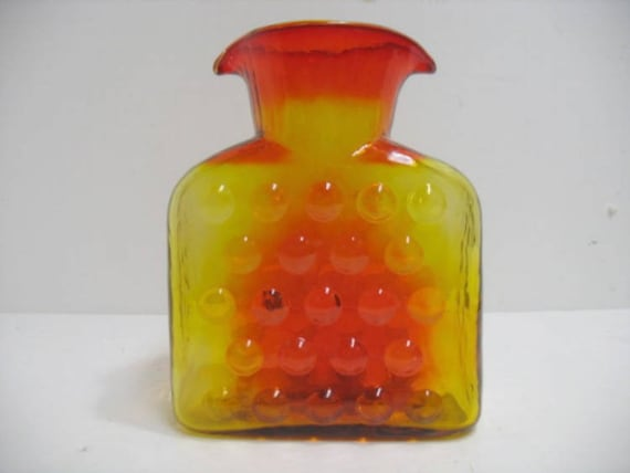Vintage Blenko Pitcher Glass Vase with Double Water Spout, 1958-1961 Bubble Wrap Tangerine Decanter, Mid Century Glass