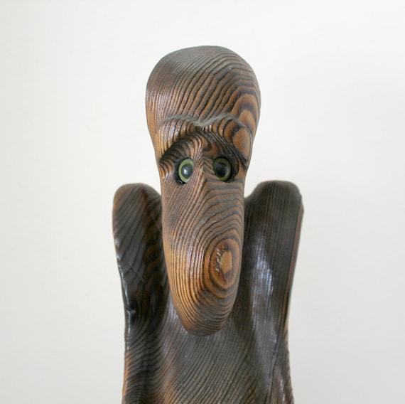 Vinage Vulture Bird Statue | Witco Era 1970s Carved Wood | Wooden Art Sculpture Statue