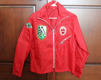 Washington State WSCC Racing Jacket Windbreaker, Car, Northwest Rally Red with Patches Men's Sz Small