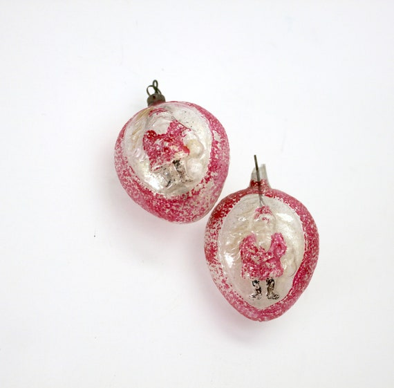 Vintage Lot 2 Belsnickel Santa Glass Ornaments, Christmas Tree Ornaments, Red Clear Acorns