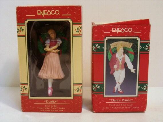 2 Enesco Vintage Christmas Tree Ornaments Nutcracker Suite Clara & Clara's Prince in Boxes NIB