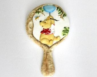 Rare Vintage Winnie The Pooh Hand Mirror, Walt Disney 1960s Embossed Porcelain Ceramic