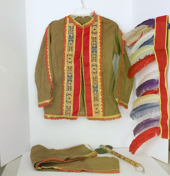 1950s Child's Vintage Native American Costume w/ Shirt, Pants, Feather Headdress and Tomahawk