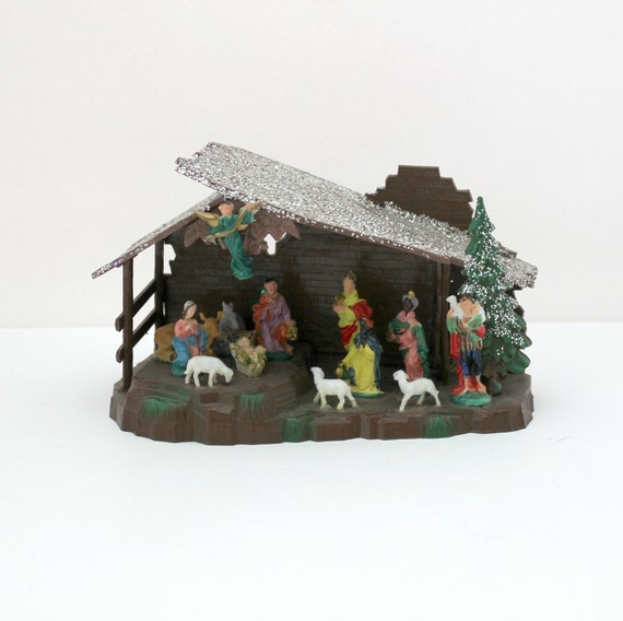 Vintage Miniature Nativity Set, Manger Scene by Shiny Brite with Box, Religious Christmas Christian Decoration