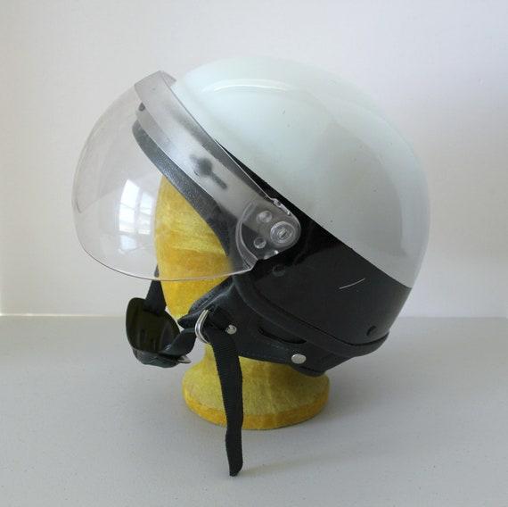 Vintage Harley Davidson Police Helmet w/ Visor Face Shield, Small 1970s Half Short Shorty