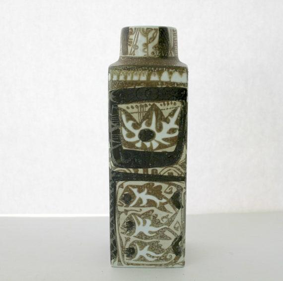 Vintage 1960s Royal Copenhagen Vase, Denmark Fajance Nils Thorsson, Abstract Mid Century Signed Numbered