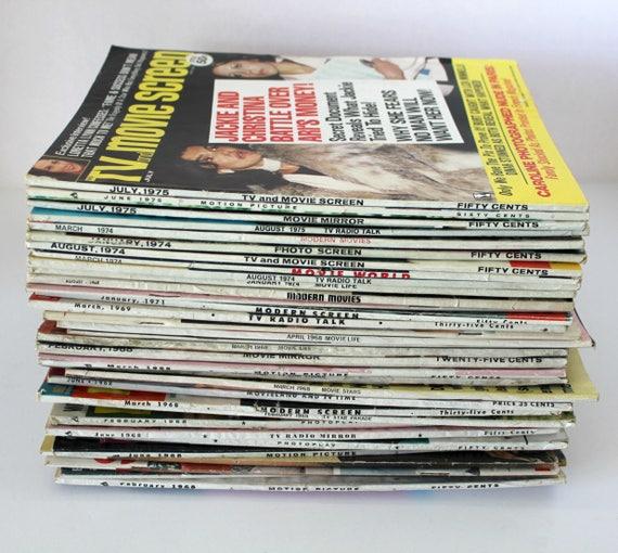 Vintage Lot 34 Movie Motion Picture TV Tabloid Magazines, 1968 - 1974 Gossip Entertainment