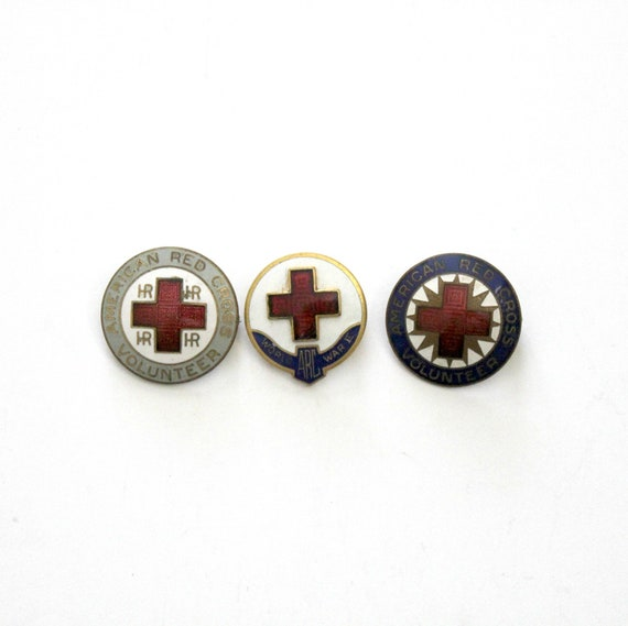 Vintage American Red Cross Hospital Volunteer ARC WWII 1940s Lot 3 Enamel Pins