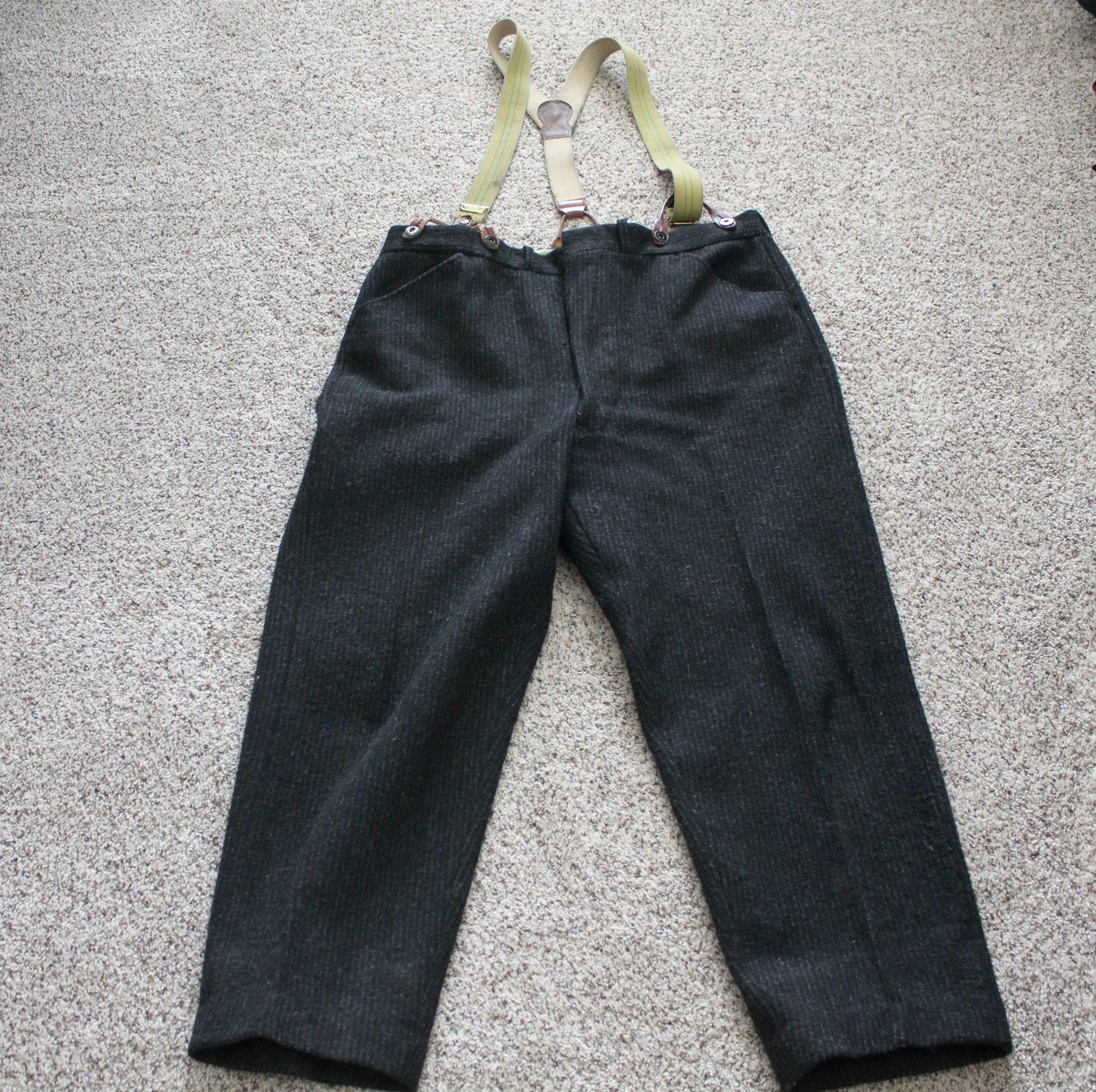 64f00c50b31e8 Vintage Woolrich Wool Striped Pants w/ Police Suspenders, 1960s Men's  Hunting