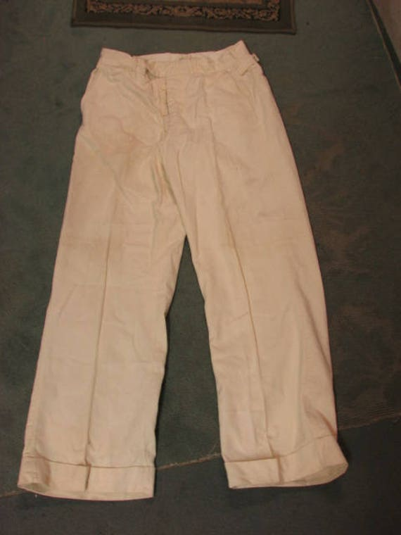 Antique Men's Corduroy Pants, Off White w/ Buckles & Wide Legs, Victorian Look, Steampunk 1890s-1920s Clothing