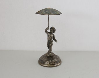 Antique Silver Plated Toothpick Holder Boy with Umbrella, Silverplate