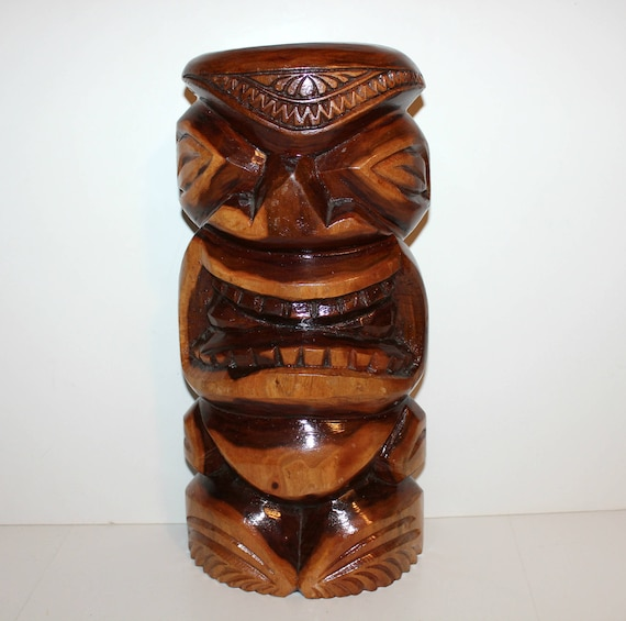 "Tiki Totem Pole, Hawaii Wood Sculpture, 15"" Hawaiian Wooden Art"