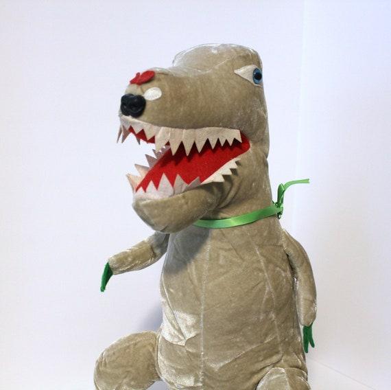 Vintage Plush Dinosaur, Crushed Velvet 1960s Stuffed Toy Animal, Handmade ?