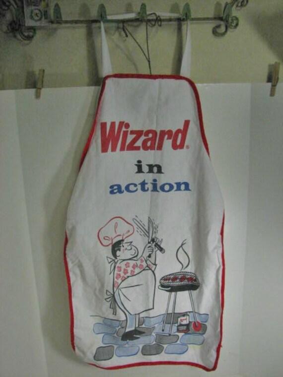 Vintage Wizard Charcoal Lighter Fluid BBQ Apron, Advertising Premium Bar-B-Q Apron Barbecue Man