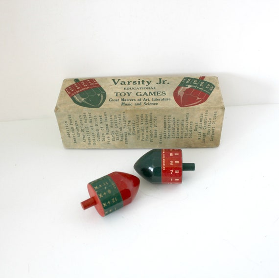 Antique Varsity Jr Educational Toy Games 1920s Spinning Tops, Math, Science, Music, Art, Literature,